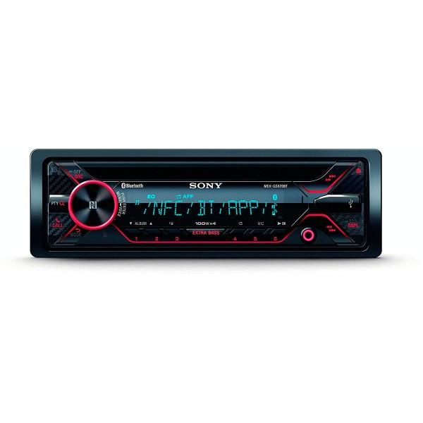 Sonyx mex-gs820bt receptor de cd con bluetooth 4x100w para el coche con control por voz extrabass usb y aux
