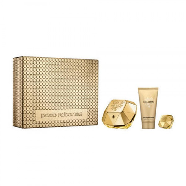 Set paco rabanne lady million vaporizador 50ml + miniatura 5ml. + body lotion 100ml.