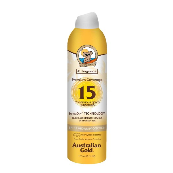Australian gold premium coverage spf15 continuous spray 177ml vaporizador
