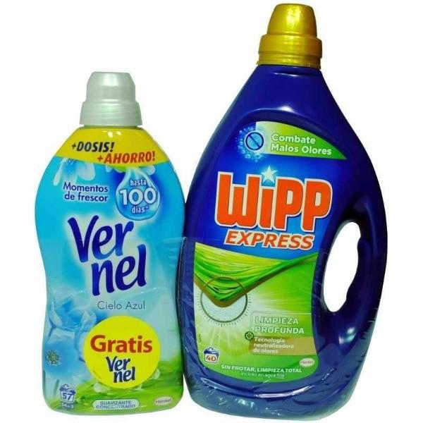 Wipp Express detergente Malos Olores 40 dosis + Vernel suavizante Cielo Azul 57 dosis GRATIS